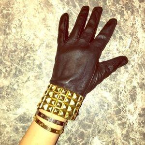 Michael Kors black leather gold stud gloves